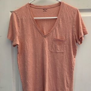 Madewell Tops - Madewell Pink V-Neck Pocket Tee size Medium!!!